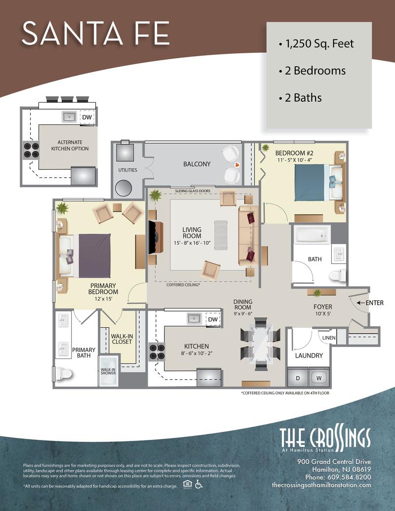 The Crossings at Hamilton Station Apartment Floor Plan Santa Fe